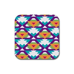 Triangles And Other Shapes Pattern Rubber Square Coaster (4 Pack) by LalyLauraFLM