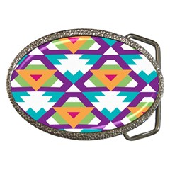 Triangles And Other Shapes Pattern Belt Buckle by LalyLauraFLM