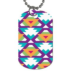 Triangles And Other Shapes Pattern Dog Tag (one Side) by LalyLauraFLM