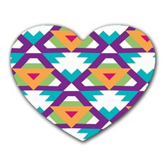 Triangles And Other Shapes Pattern Heart Mousepad by LalyLauraFLM
