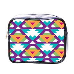 Triangles And Other Shapes Pattern Mini Toiletries Bag (one Side) by LalyLauraFLM