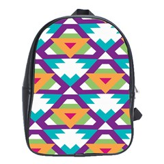 Triangles And Other Shapes Pattern School Bag (xl) by LalyLauraFLM