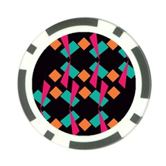 Shapes In Retro Colors  Poker Chip Card Guard by LalyLauraFLM