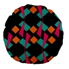 Shapes In Retro Colors  Large 18  Premium Round Cushion  by LalyLauraFLM