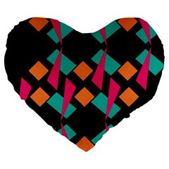 Shapes In Retro Colors  Large 19  Premium Heart Shape Cushion by LalyLauraFLM