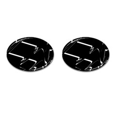 Bw Glitch 3 Cufflinks (oval) by MoreColorsinLife