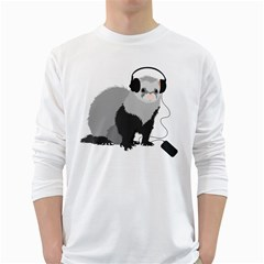 Funny Music Lover Ferret White Long Sleeve T Shirts by CreaturesStore
