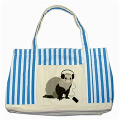 Funny Music Lover Ferret Striped Blue Tote Bag  by CreaturesStore