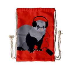 Funny Music Lover Ferret Drawstring Bag (small) by CreaturesStore