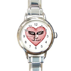 Angry Devil Heart Drawing Print Round Italian Charm Watches by dflcprints