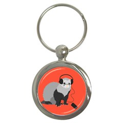 Funny Music Lover Ferret Key Chains (round)  by CreaturesStore