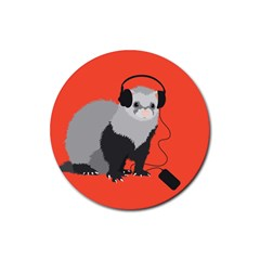 Funny Music Lover Ferret Rubber Round Coaster (4 Pack)  by CreaturesStore