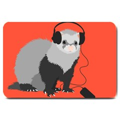Funny Music Lover Ferret Large Doormat
