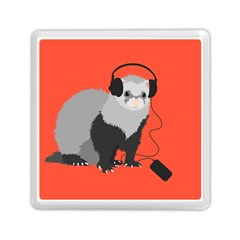 Funny Music Lover Ferret Memory Card Reader (square)  by CreaturesStore