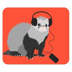 Funny Music Lover Ferret Double Sided Flano Blanket (small)  by CreaturesStore