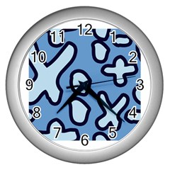 Blue Maths Signs Wall Clocks (silver)  by maregalos