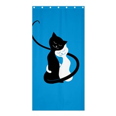 Blue Hugging Love Cats Shower Curtain 36  X 72  (stall)