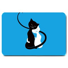 Blue Hugging Love Cats Large Doormat