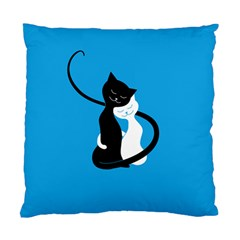 Blue Hugging Love Cats Standard Cushion Case (one Side)