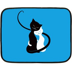 Blue Hugging Love Cats Fleece Blanket (mini)