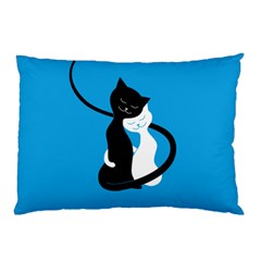 Blue Hugging Love Cats Pillow Cases (two Sides)