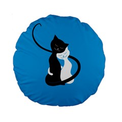 Blue Hugging Love Cats Standard 15  Premium Round Cushions