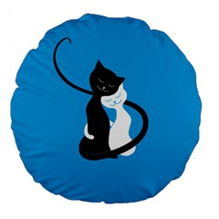 Blue Hugging Love Cats Large 18  Premium Round Cushions