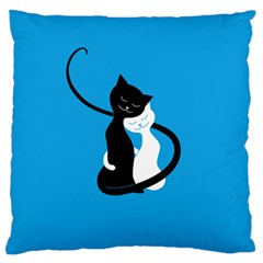 Blue Hugging Love Cats Large Flano Cushion Cases (one Side)