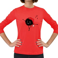 Dancing Evil Christmas Bug Women s Long Sleeve T Shirt (dark Colored)