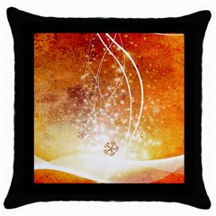 Wonderful Christmas Design With Snowflakes  Throw Pillow Cases (black) by FantasyWorld7