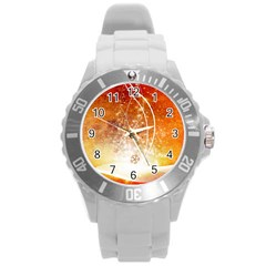 Wonderful Christmas Design With Snowflakes  Round Plastic Sport Watch (l) by FantasyWorld7