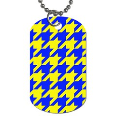Houndstooth 2 Blue Dog Tag (two Sides) by MoreColorsinLife