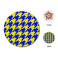 Houndstooth 2 Blue Playing Cards (Round)  by MoreColorsinLife