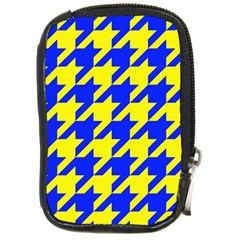 Houndstooth 2 Blue Compact Camera Cases by MoreColorsinLife
