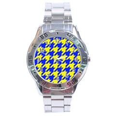 Houndstooth 2 Blue Stainless Steel Men s Watch by MoreColorsinLife