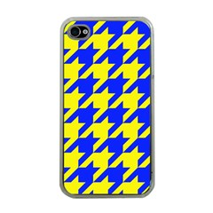 Houndstooth 2 Blue Apple Iphone 4 Case (clear) by MoreColorsinLife