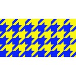 Houndstooth 2 Blue Twin Hearts 3D Greeting Card (8x4)  Front