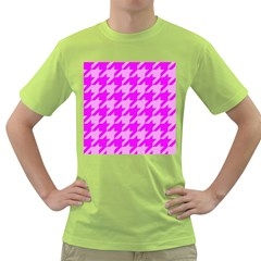 Houndstooth 2 Pink Green T Shirt by MoreColorsinLife