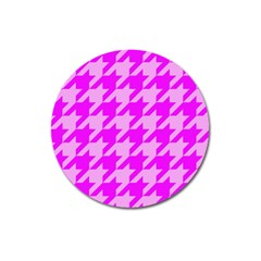 Houndstooth 2 Pink Magnet 3  (round) by MoreColorsinLife