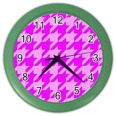Houndstooth 2 Pink Color Wall Clocks by MoreColorsinLife
