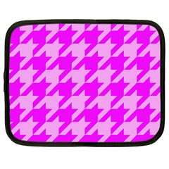 Houndstooth 2 Pink Netbook Case (large) by MoreColorsinLife