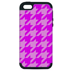 Houndstooth 2 Pink Apple Iphone 5 Hardshell Case (pc+silicone) by MoreColorsinLife