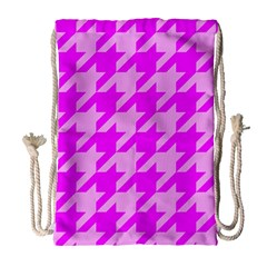 Houndstooth 2 Pink Drawstring Bag (large) by MoreColorsinLife