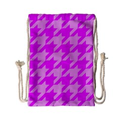 Houndstooth 2 Pink Drawstring Bag (small) by MoreColorsinLife