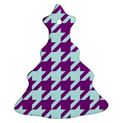 Houndstooth 2 Purple Christmas Tree Ornament (2 Sides) by MoreColorsinLife
