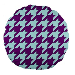 Houndstooth 2 Purple Large 18  Premium Flano Round Cushions by MoreColorsinLife