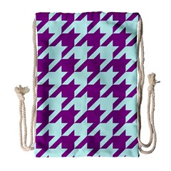 Houndstooth 2 Purple Drawstring Bag (large) by MoreColorsinLife