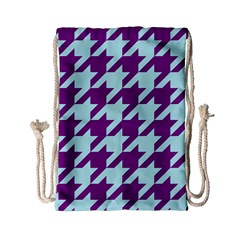 Houndstooth 2 Purple Drawstring Bag (small) by MoreColorsinLife