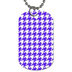 Houndstooth Blue Dog Tag (two Sides) by MoreColorsinLife