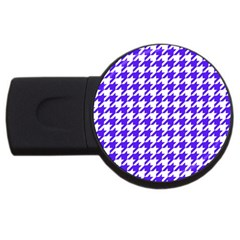 Houndstooth Blue Usb Flash Drive Round (2 Gb)  by MoreColorsinLife
